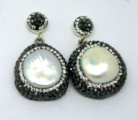 Sterling Silver Mother of Pearl Drop Earrings set with Marcasites and Crystals